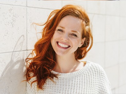 Ginger woman smiling composite bonding